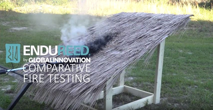 Synthetic thatch fire tests comparison video