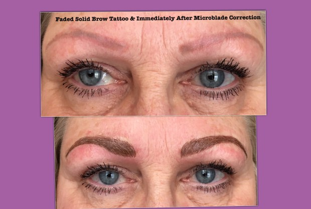 Micro-Blading Over Solid Faded Brow Tattoo(*) – Enduring