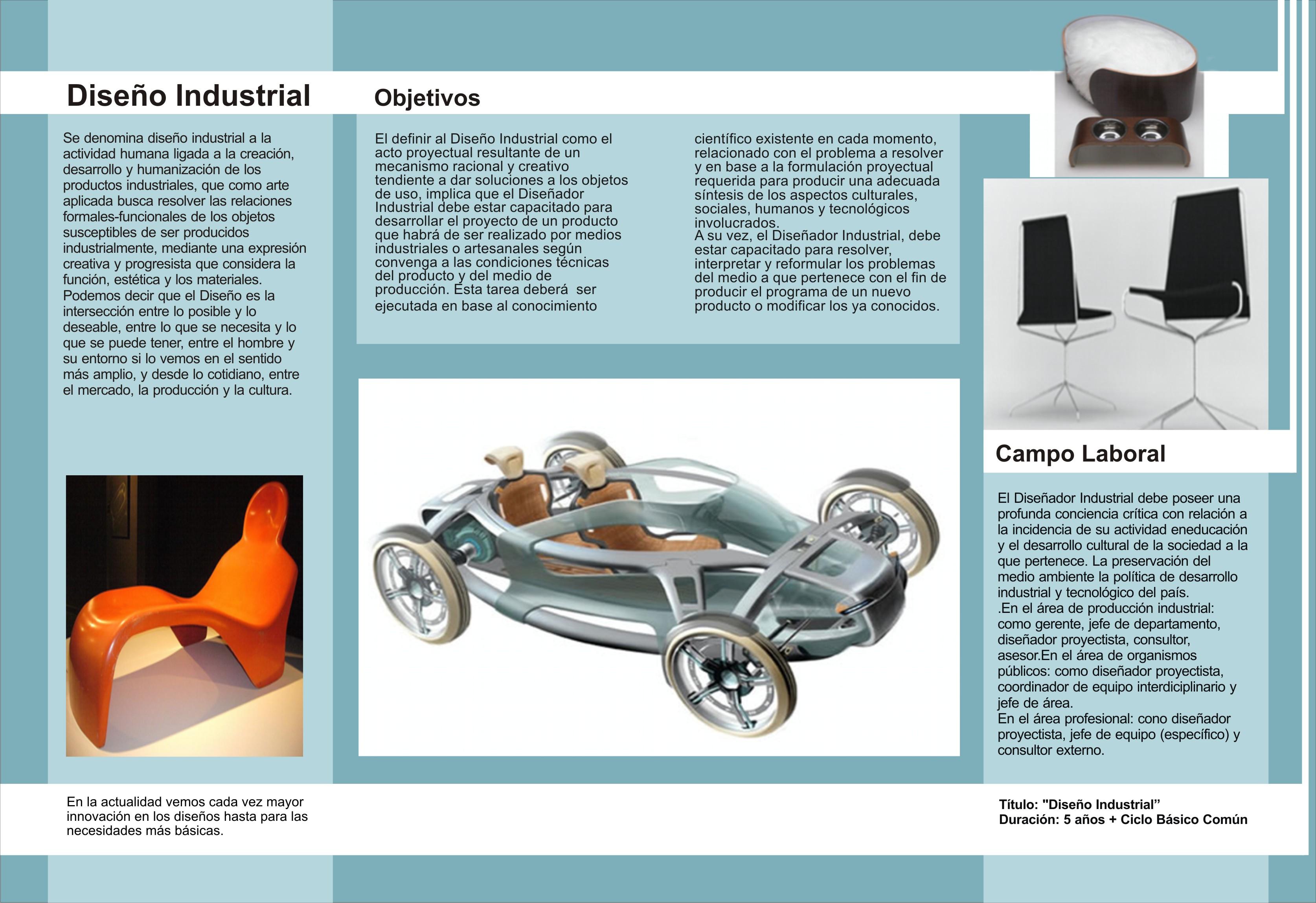 Interior de folleto para la carrera de dise o industrial for Carrera de diseno industrial