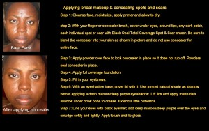 how to apply bridal makeup & conceal spots & scars