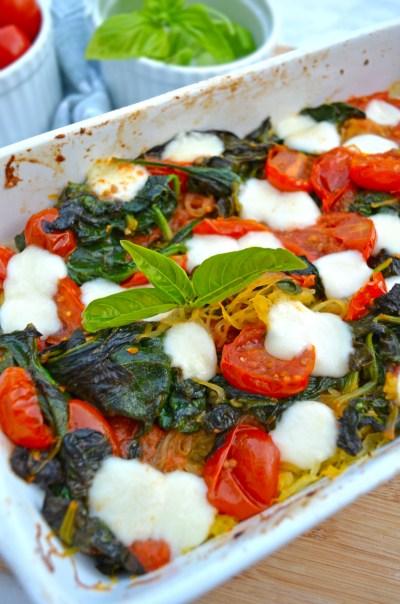 spaghetti squash caprese bake