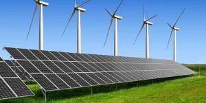 solar energy panels and wind turbines
