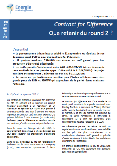 Analyse du second appel d'offre britannique pour des CfD renouvelables par Energie et Développement