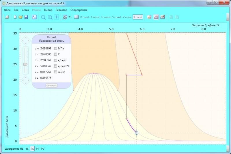 Окно программы. ps-диаграмма