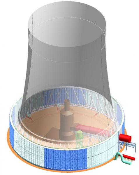 Градирня совмещенная с дымовой трубой