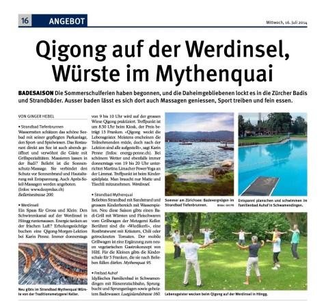 News Tagblatt Zürich 2014 - Qigong auf der Werdinsel