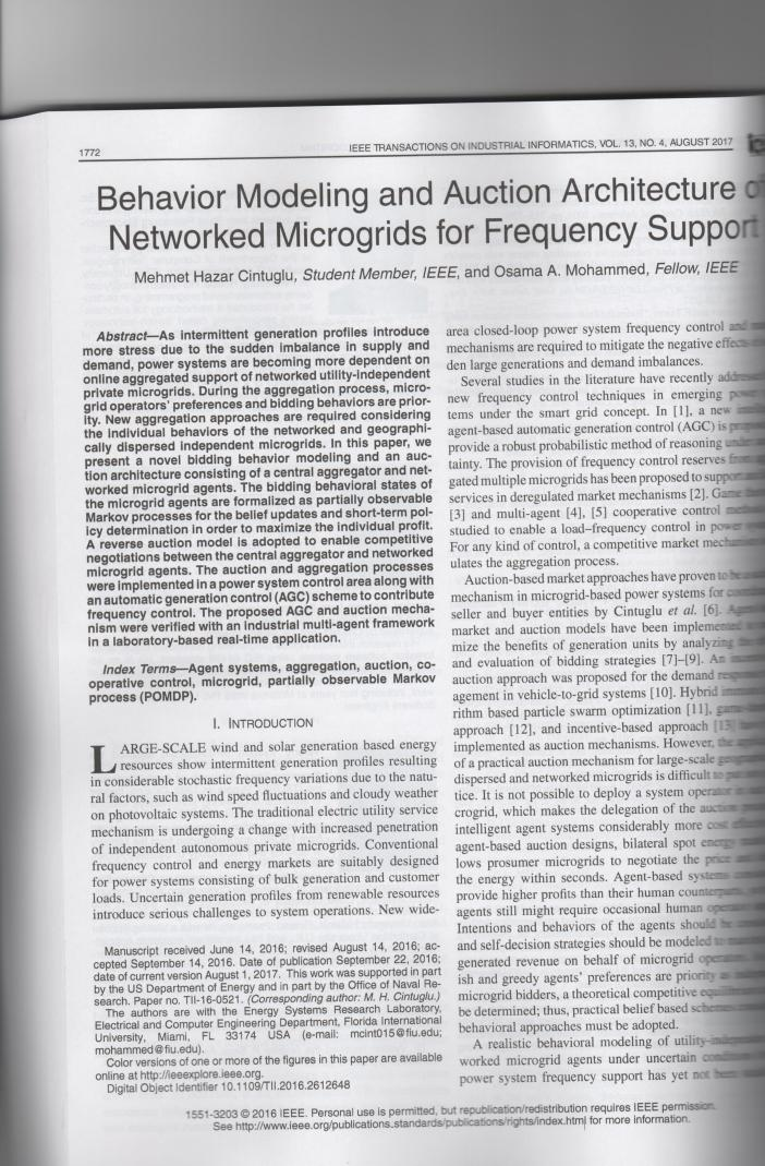 Behavior Modeling and Auction Architecture of Networked Microgrids for Frequency Support,