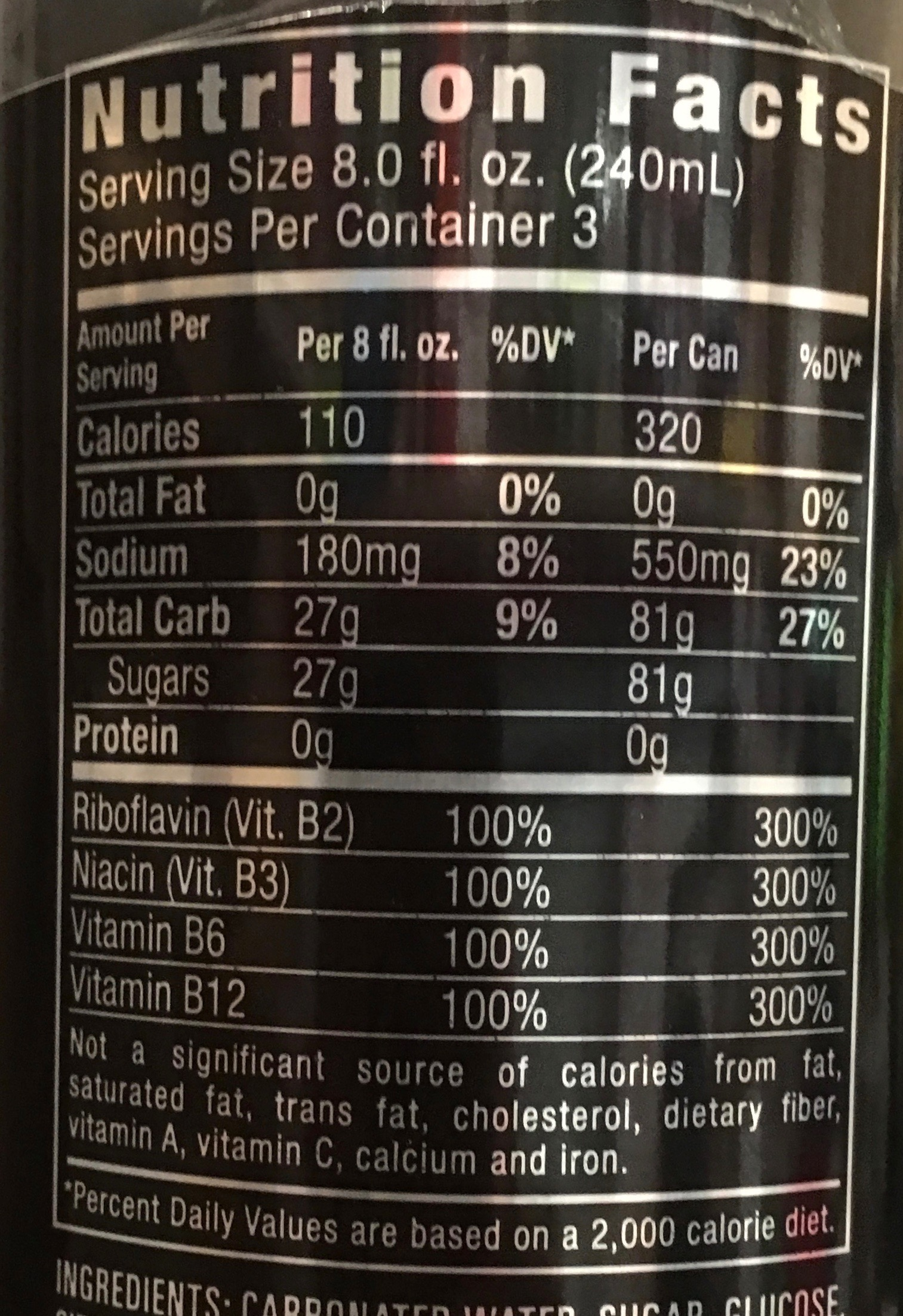 Monster Energy Drink Nutritional Information