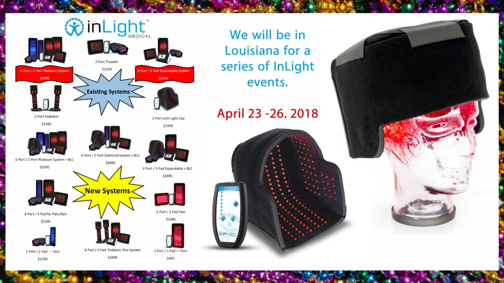 We will be in Louisiana for a series of InLight events.