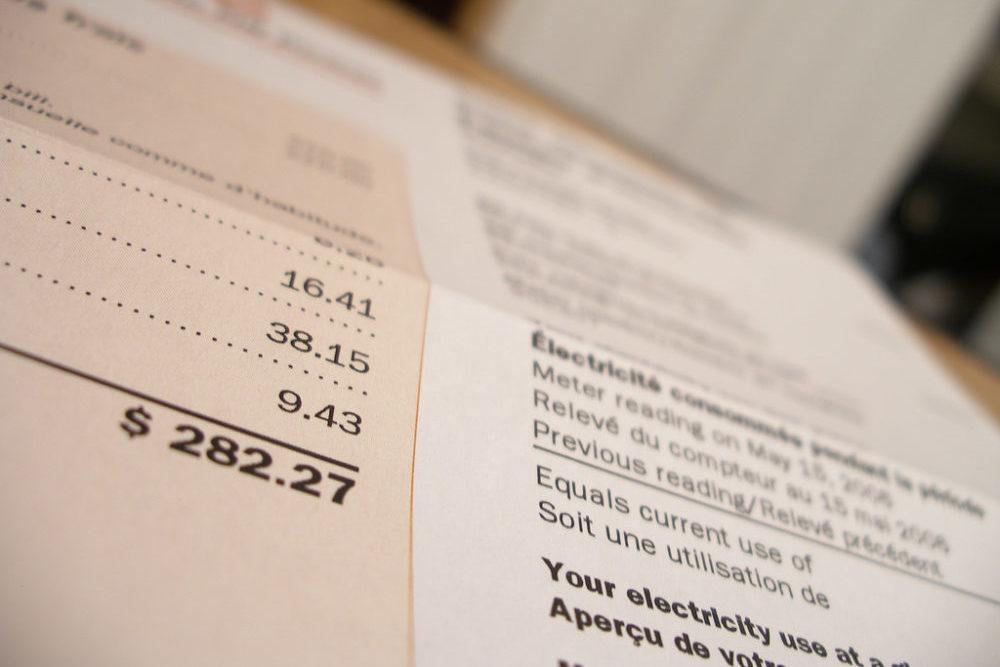closeup of a utility bill