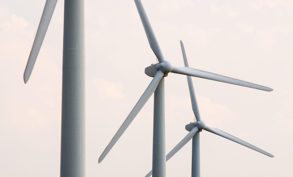 a trio of wind turbines