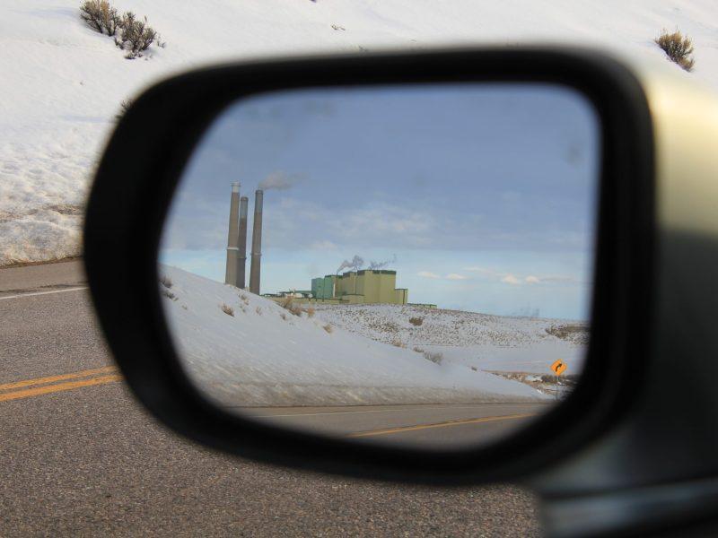 colorado power plant in rear view mirror
