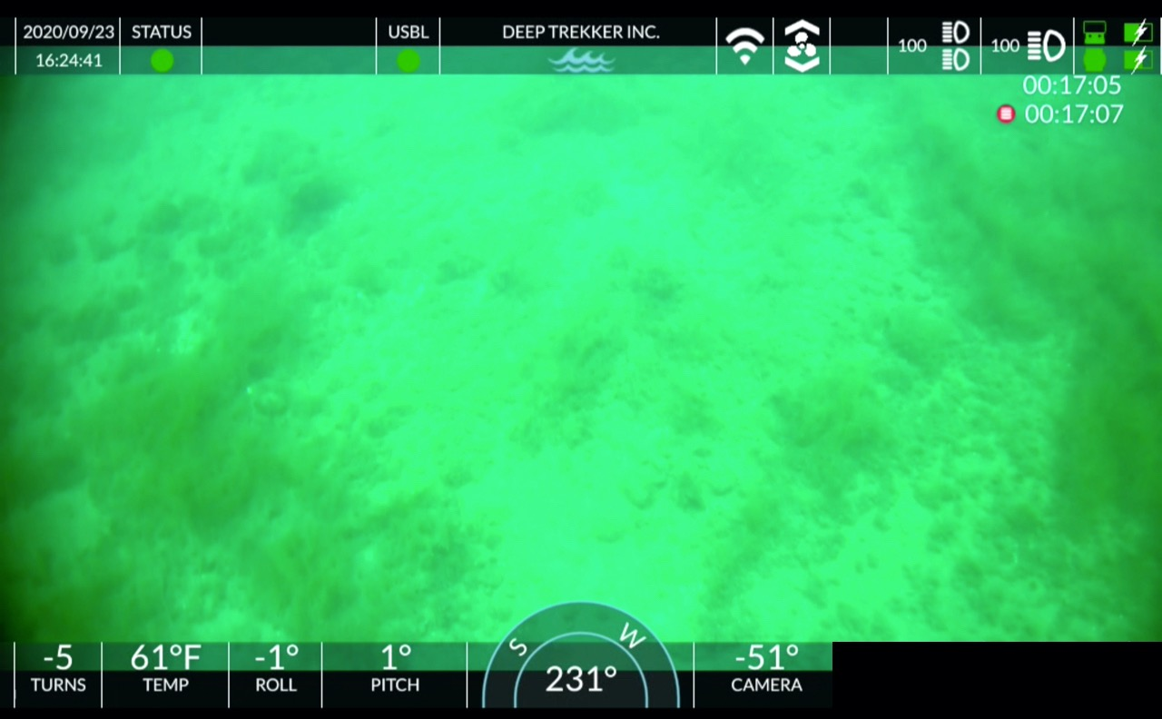 View from an underwater camera shows an apparent cultural site in the Straits of Mackinac.