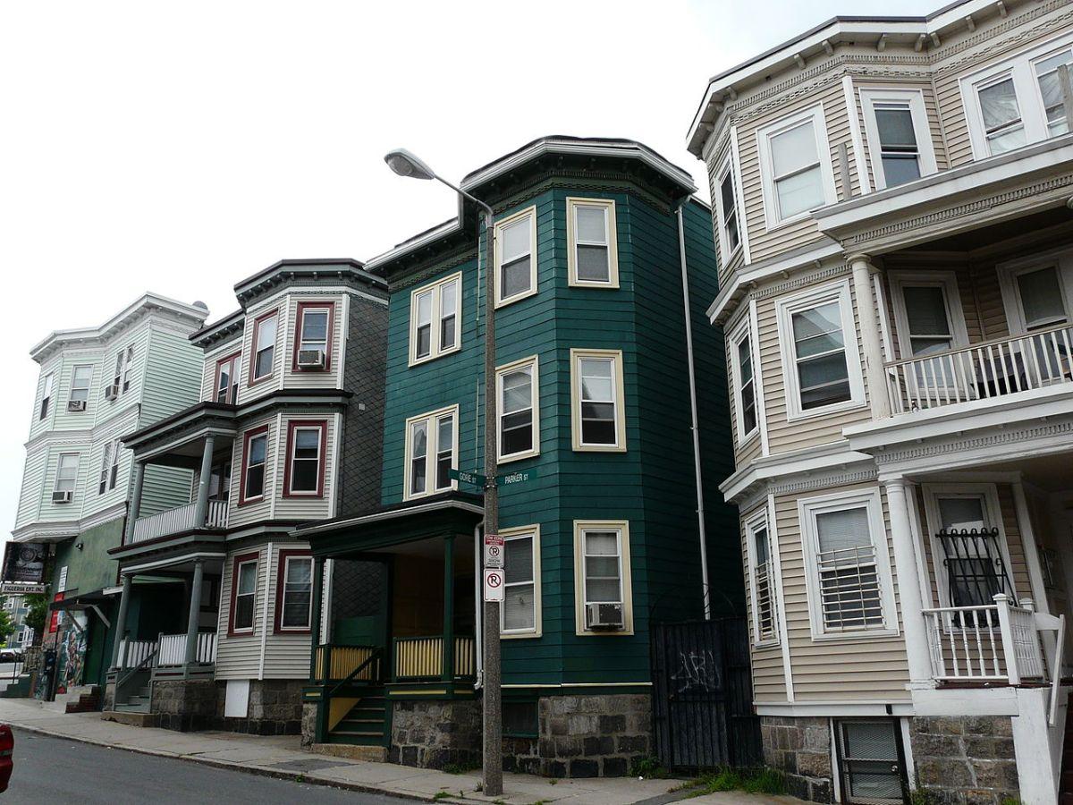 A row of triple-decker homes in Boston, Massachusetts.