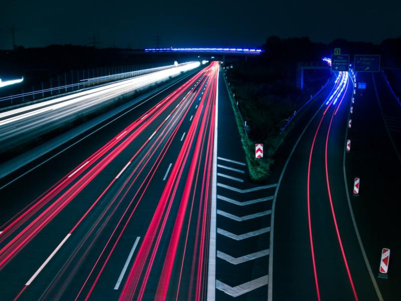 Light trails on a road at night.