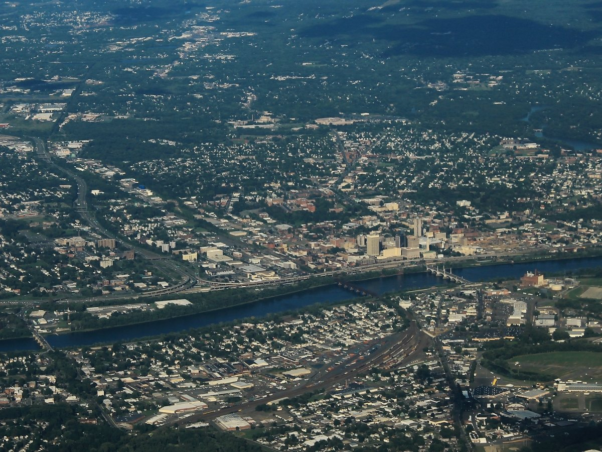 A distant aerial view of Springfield, Massachusetts.
