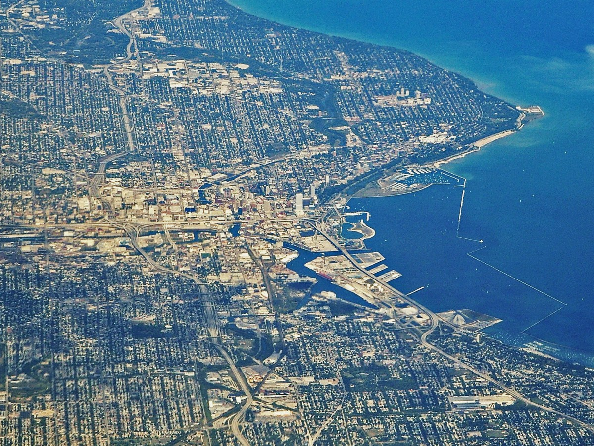 Aerial view of Milwaukee, Wisconsin.