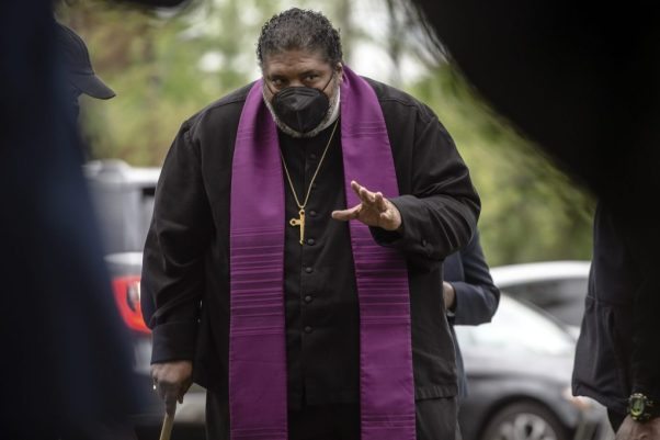 The Rev. Dr. William J. Barber prepares to speak during an April rally at Alonzo Weaver Park opposing the Byhalia Connection Pipeline.