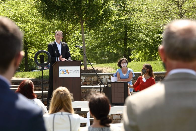 Virginia Gov. Ralph Northam speaks at a press conference announcing the Community Climate Collaborative's new Green Business Alliance.