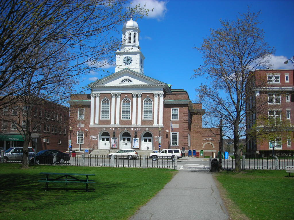 City Hall in downtown Lebanon, New Hampshire.