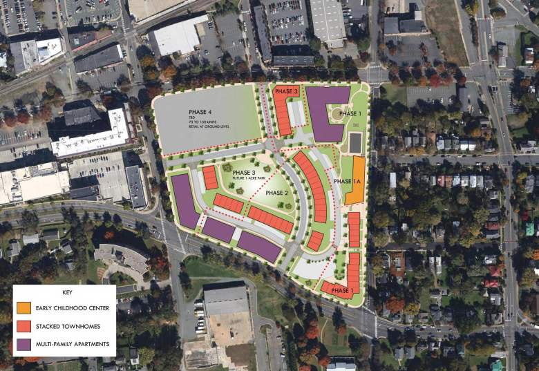 A map shows the four phases of the Friendship Court redevelopment plan.
