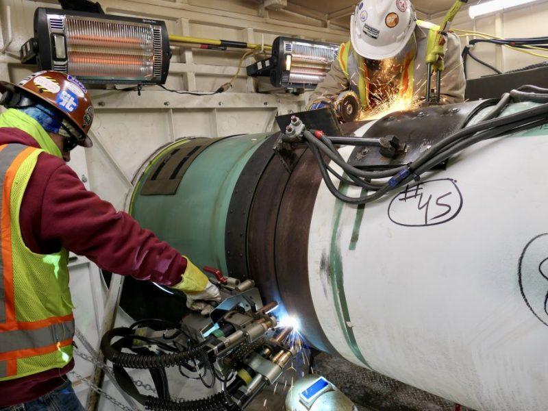 Welders worked on Enbridge's Line 3 oil pipeline near Hill City on Jan. 26, 2021.