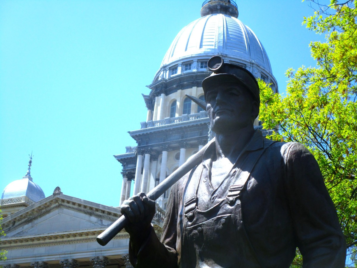 A coal miner statue in front of the Illinois State Capitol Building in Springfield, Illinois.