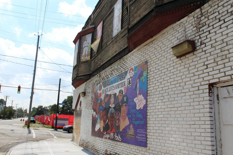 A mural near League Park in Cleveland's Hough neighborhood.