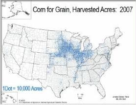 Corn growing acres USA map