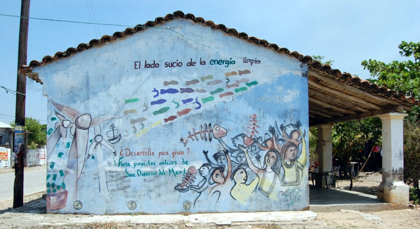 """""""The dirty side of wind energy"""", depicts a wall in San Dionisio del Mar, Oaxaca, in the South of Mexico"""