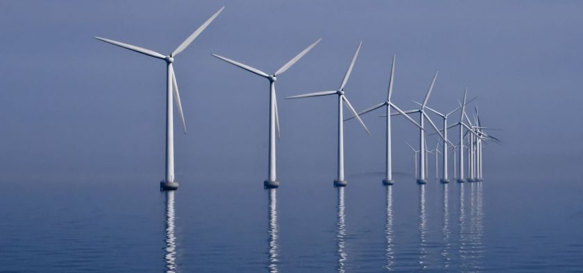 Offshore wind park in the middle of the sea.