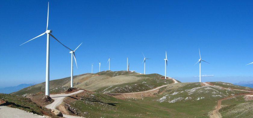 A wind farm in the Panachaiko mountain area.