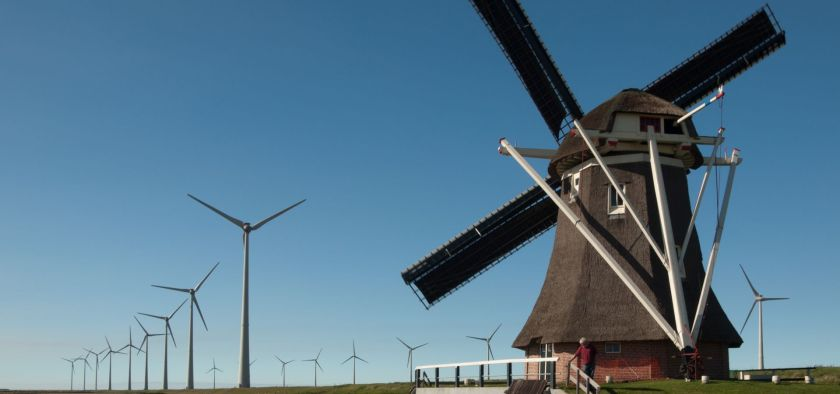 old and new windmills at Groningen