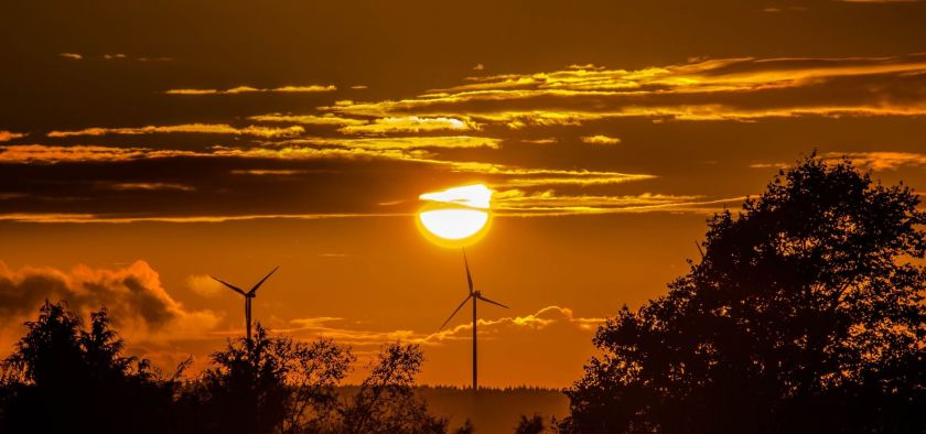 windmill with sunset