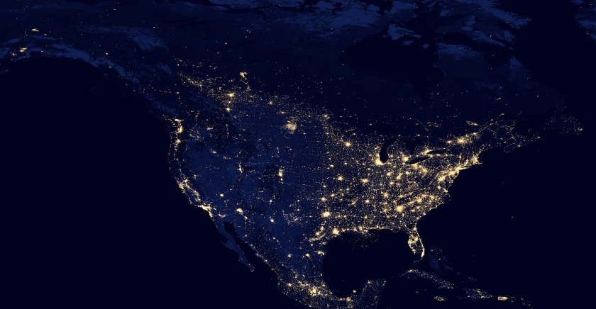 Canada, the US and Mexico as seen from space at night