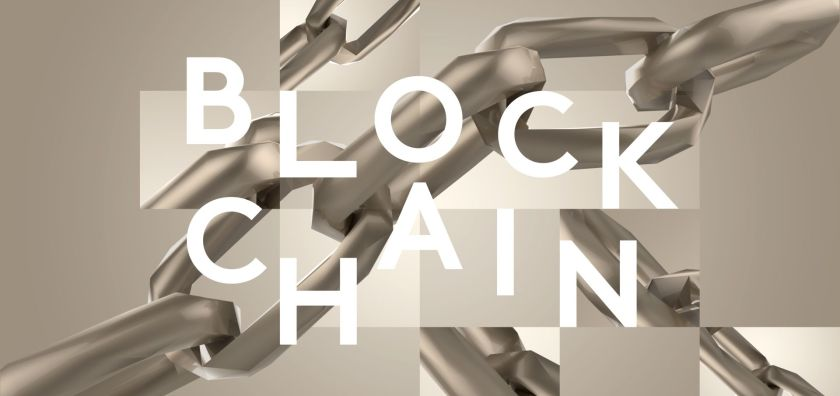 text that reads block chain with a stylistic chain in the background