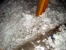 infiltration ceiling insulation fiberglass blown discolored