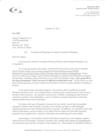 Guardian Building Products fiberglass batts letter from lawyer p1 small