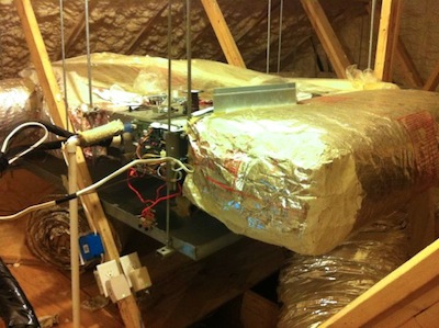 hvac mini split heat pump ducted air handler in attic
