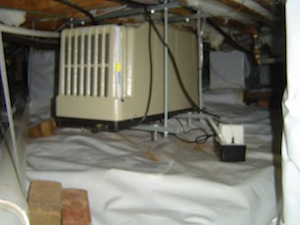 dehumidifier in an encapsulated crawl space