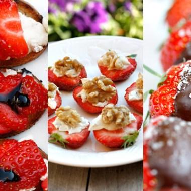 3 bilder av forskjellig sommersnacks med jordbær