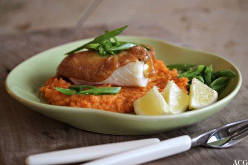 tallerken med torsk og søtpotetmos
