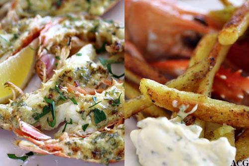 to bildet: grillet sjøkreps og pommes frites
