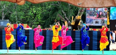 Armymen performing the bhangra