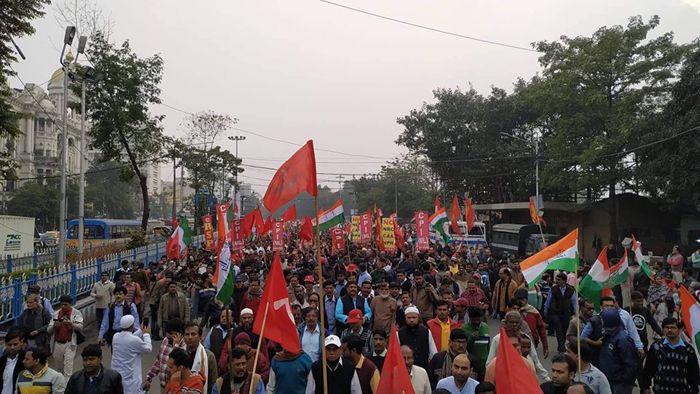 left front all india workers strike nrc caa