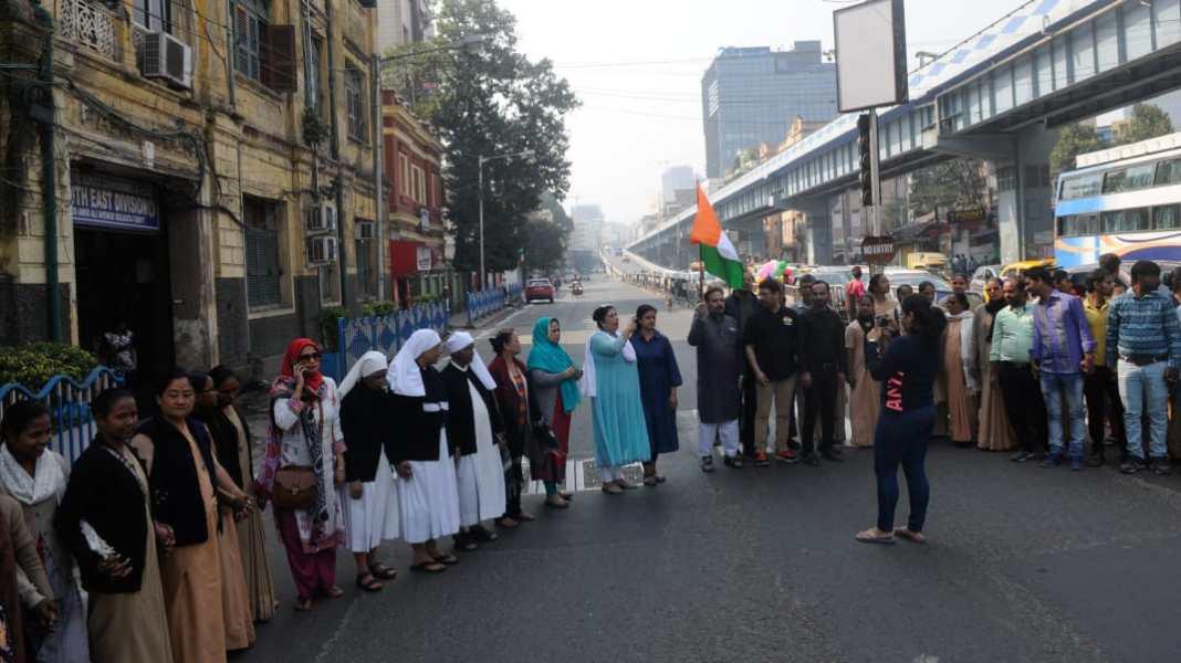 human chain kolkata caa nrc npr republic day