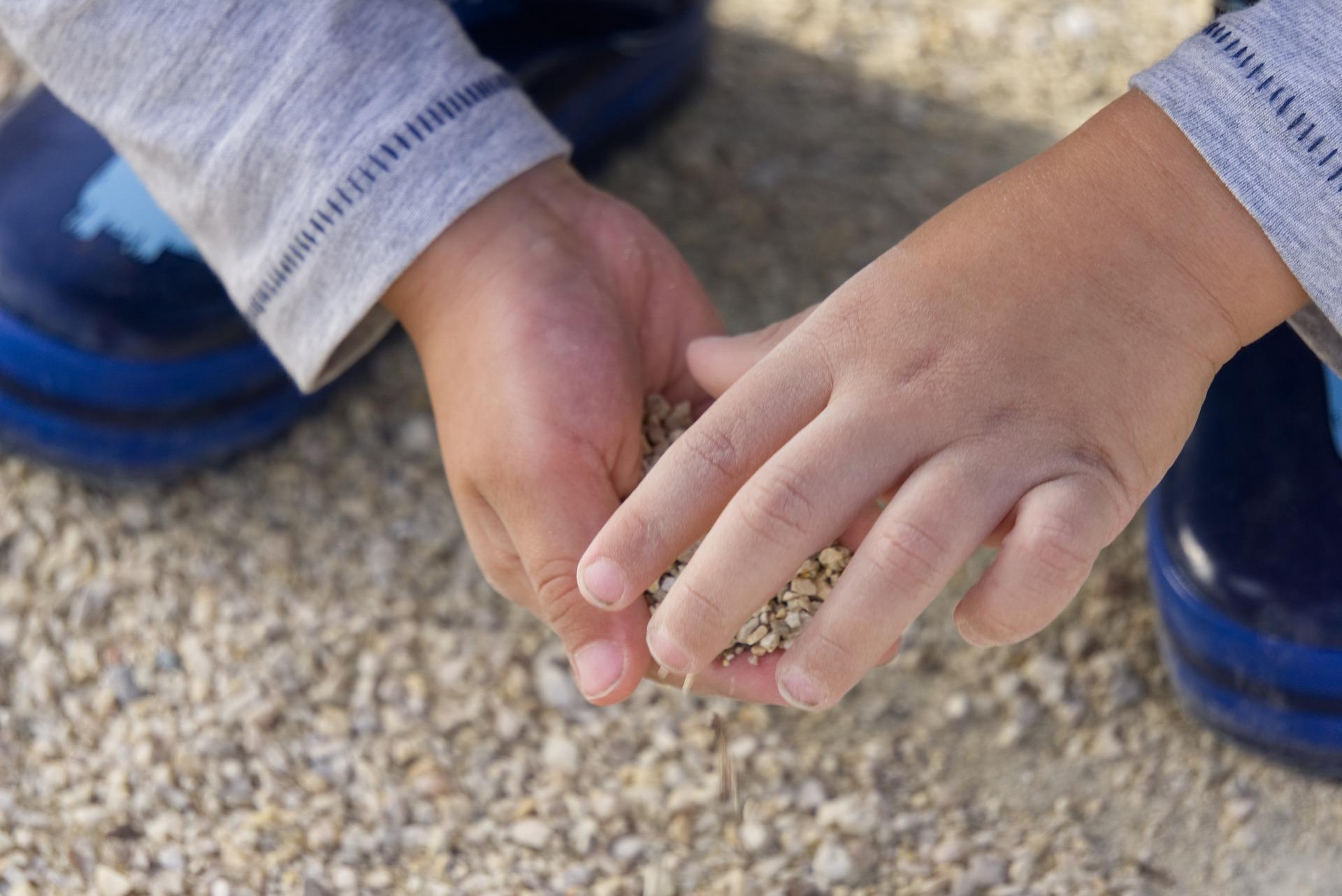 Prévoyez un petit pot de sable et de minis cailloux,les enfants en raffolent et c'esrt très utile sur la table de la nature.