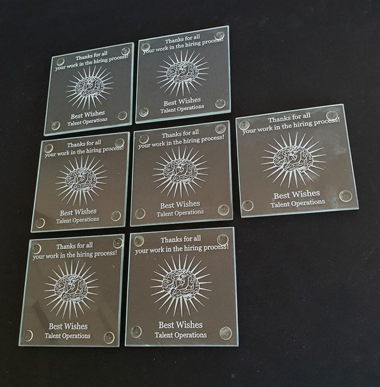 Brain Artwork Coasters used as Gift to Staff