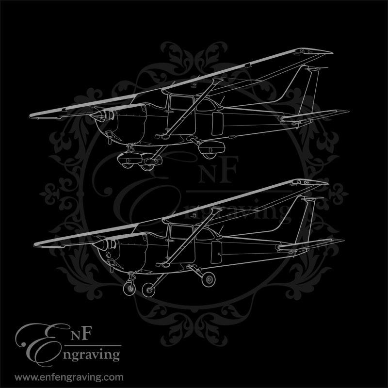 Cessna 172 Aircraft Engraving Artwork (2 Designs)