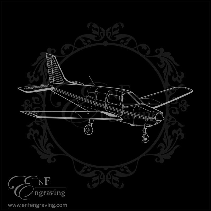 PA28 Aircraft Engraving Artwork